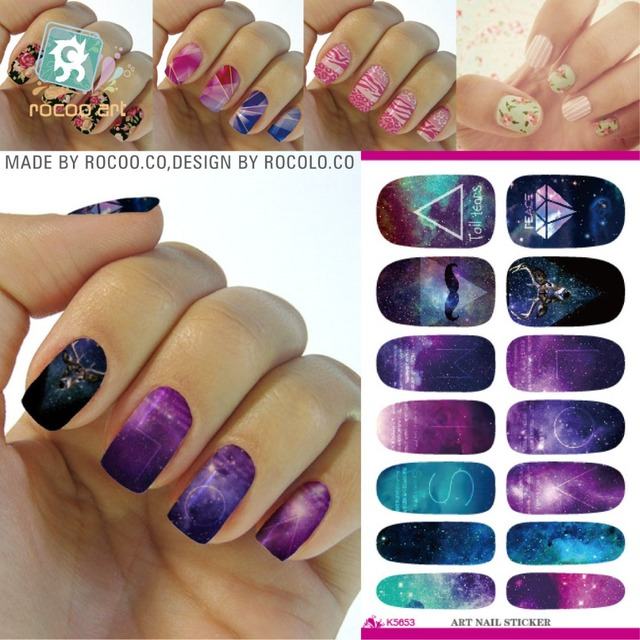 K5653 Water Transfer Foil Nails Art Sticker Mystery Galaxies Zodiac Design Decals Fashion Nail Wraps