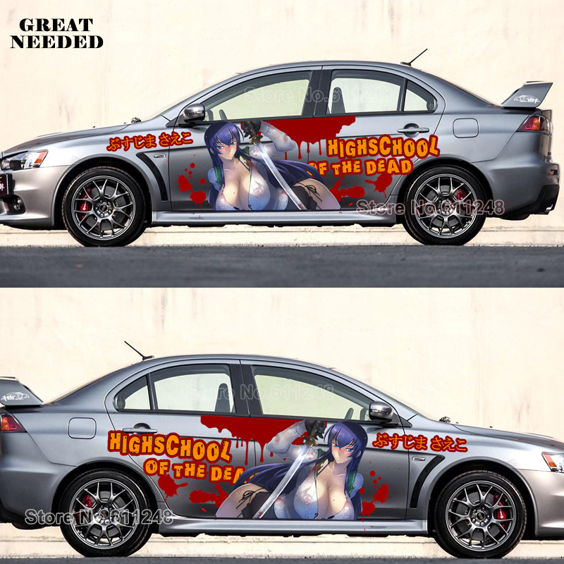 Tailor Made Japanese Anime Cartoon Car Door Stickers HIGHSCHOOL OF THE DEAD Funny Racing Car Decal Auto Camouflage Vinyl Film car styling door stickers japanese anime strike witches vinyl sport sticker decals auto body racing decal acgn paint car