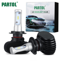 Partol S1 H4 H7 9005 9006 H11 H13 CSP LED Car Headlight Bulbs 50W DRL 8000LM