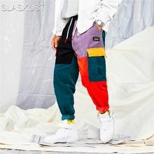 Pants Color Block Patchwork Corduroy Cargo Harem Pa