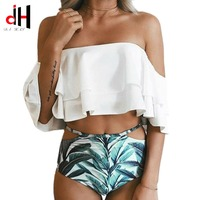 DA HAI Swimwear Women Lotus Leaf Bikini 2017 Bikinis Set Sexy Push Up Swimsuit Bathing Suit