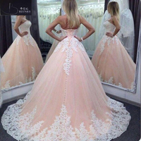 New Arrival Ivory Lace Candy Pink Tulle Wedding Dress Sweetheart A Line Lace Up Back Wedding Gowns 2018