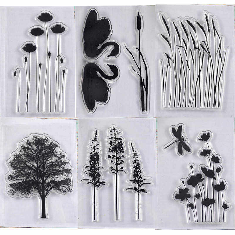 6 different plants stamp swan TPR silicon clear Stamp rubber seal for DIY Scrapbooking/Card Making/ Decoration Supplies