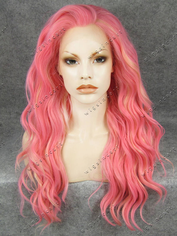 6db34d6108998d New style drag queen wigs for party synthetic wig Pink High ponytail lace  front wigs 24 inch