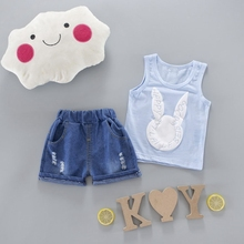 Summer Baby Boys Cute Rabbit Sleeveless Vest Tanks Tops + Jeans Denim Shorts Sport Tracksuits Casual Kids 2Pcs Suits