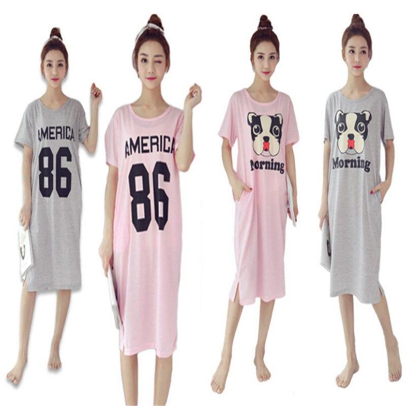 2018 Women Sleepwear Female Nightdress Print Cotton Nightgown Cute Short-Sleeved Womens Home Clothes SleepwearDress New Brand