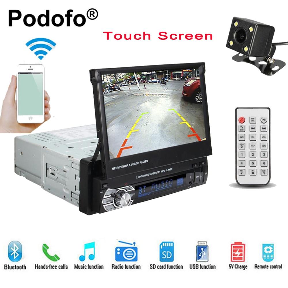 Podofo 1 din 7 Universel Autoradio GPS Navigation Bluetooth Voiture Lecteur Vidéo Écran Tactile MP5 autoradio Audio Arrière vue Caméra
