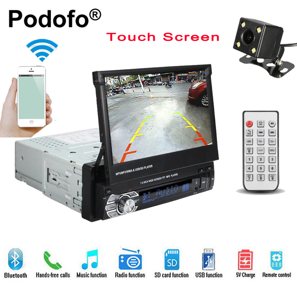 Podofo Car Radio Autoradio GPS Bluetooth Car Stereo 1 din 7HD Touch Screen Handsfree DVD FM USB SD MP5 Support Rear View Camera 7 hd bluetooth touch screen car gps stereo radio 2 din fm mp5 mp3 usb aux z825