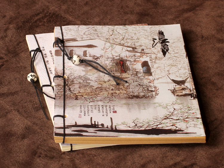 Vintage Notebook [ Rivers And Lakes Series ] Chinese Style Features Vintage Blank Kraft Paper Notepad Book
