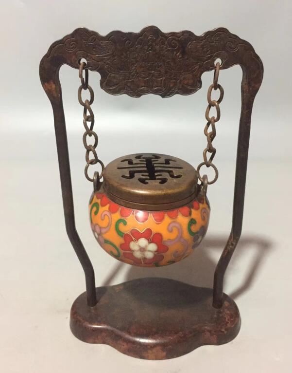 Collect archaize brass handicraft cloisonne hang Incense burnerCollect archaize brass handicraft cloisonne hang Incense burner