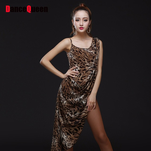 48ce49a833 2017 Hot Latin Dance Dress Lady Leopard Print Clothes Vestido Leopardo  Vestidos De Baile Latino Women Latin Dance Performance