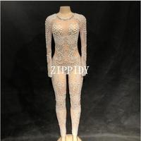 Яркие жемчуг кристаллы комбинезон сетка сексуальное Стразы перспектива боди этап наряд одежда вечер праздновать танцевальный костюм