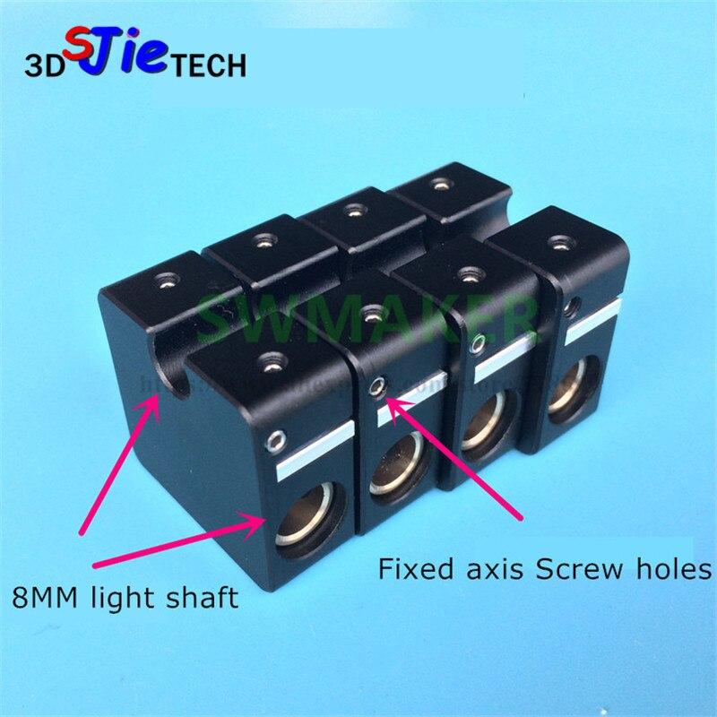 4 шт. Ultimaker 2 алюминиевый поперечный слайдер + Синхронный ремень пряжка UM2 3D принтер Запчасти черный/серебристый 8 мм Световой вал