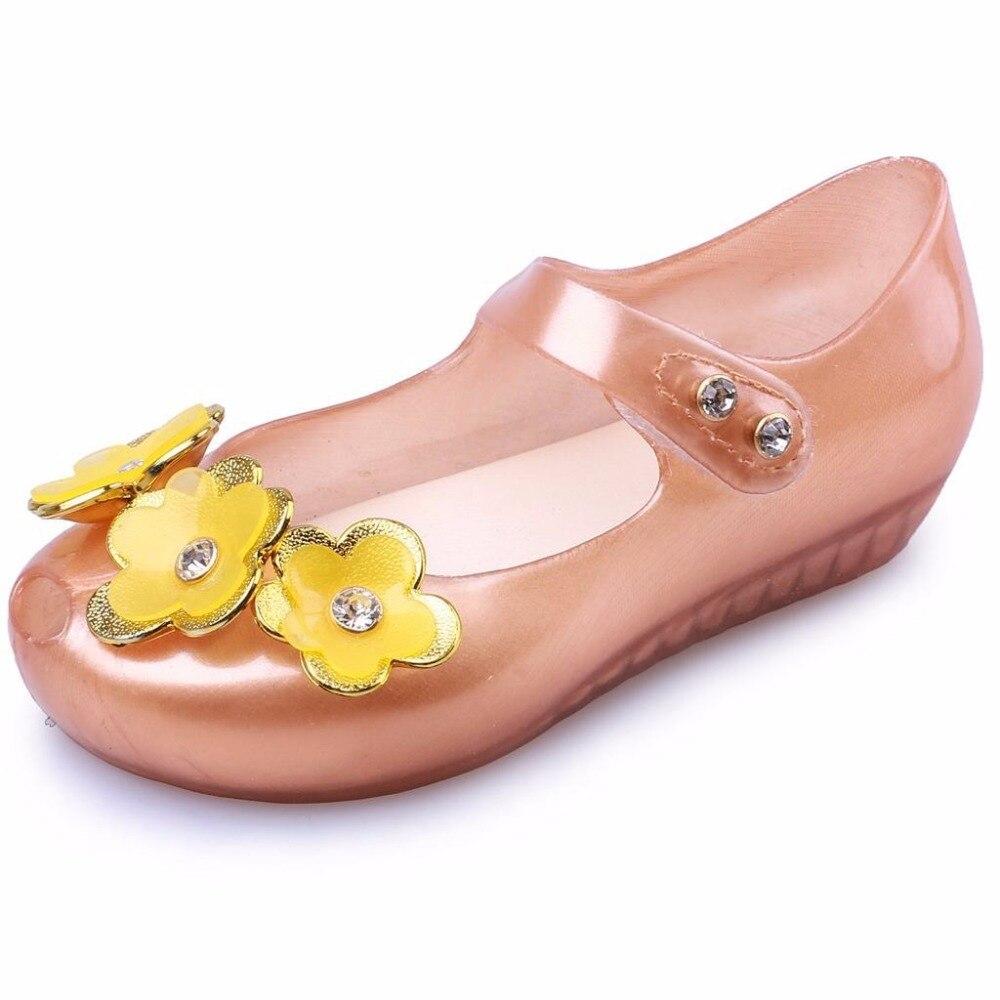 summer 2018 Mini Melissa Cute Girls Sandals Flower Shoes Sandalen Mini Girls Sandals 3 Color Kids Sandals Non-Slip