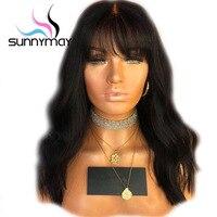 Sunnymay 180% плотность полный Кружево Человеческие волосы Искусственные парики с Синтетические чёлки волос бразильские волосы Искусственные п