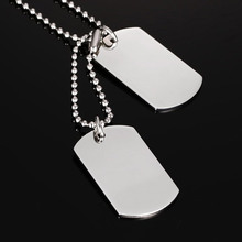 """ZORCVENS Stainless Steel Double Dog Tag Necklace Pendant ID Men Jewelry 24"""" Chain"""