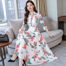 New Style Slim Floral Women Ankle Long Type Printed Bohemian Beach Casual Seaside Chiffon Dress