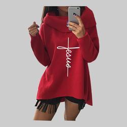 2018 New Fashion Faith Print Kawaii Tops Sweatshirt Femmes Hoodies Women Clothings Print Youth Pattern Buckle Autumn 3