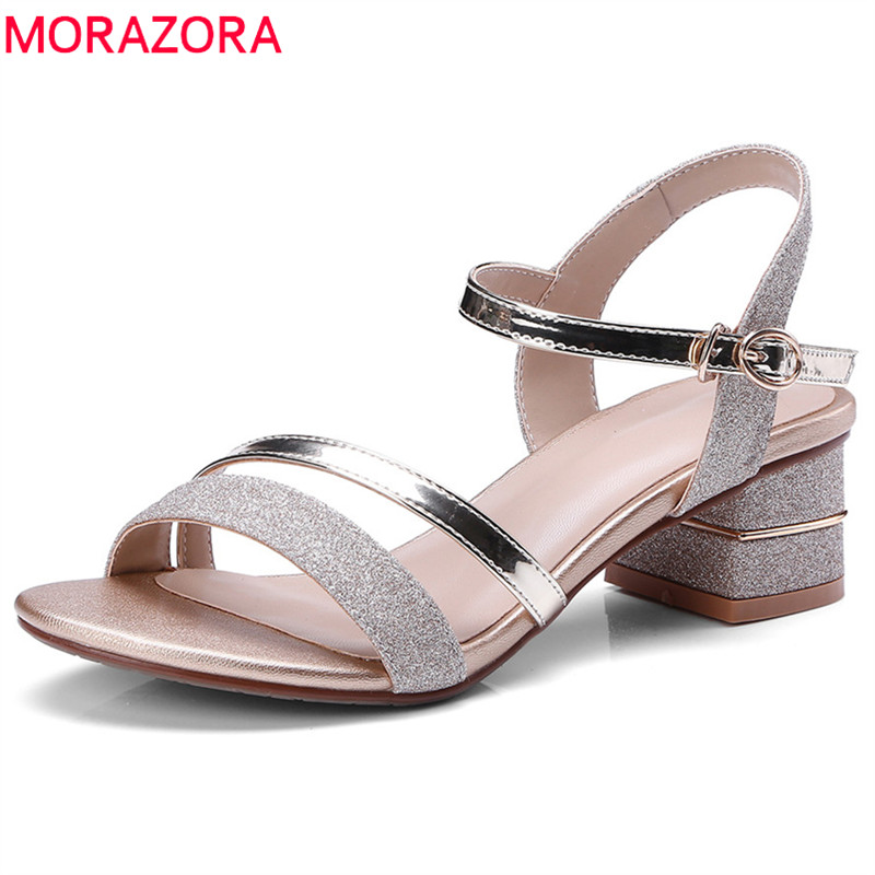MORAZORA 2018 new arrive women sandals simple buckle summer shoes fashion mixed colors comfortable square heel shoes womanMORAZORA 2018 new arrive women sandals simple buckle summer shoes fashion mixed colors comfortable square heel shoes woman