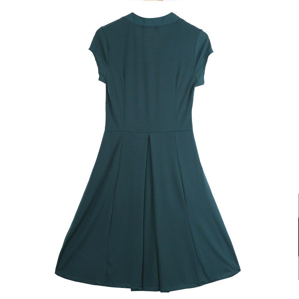 Ladies 50s 60s Retro Grey Floral Tea Dress
