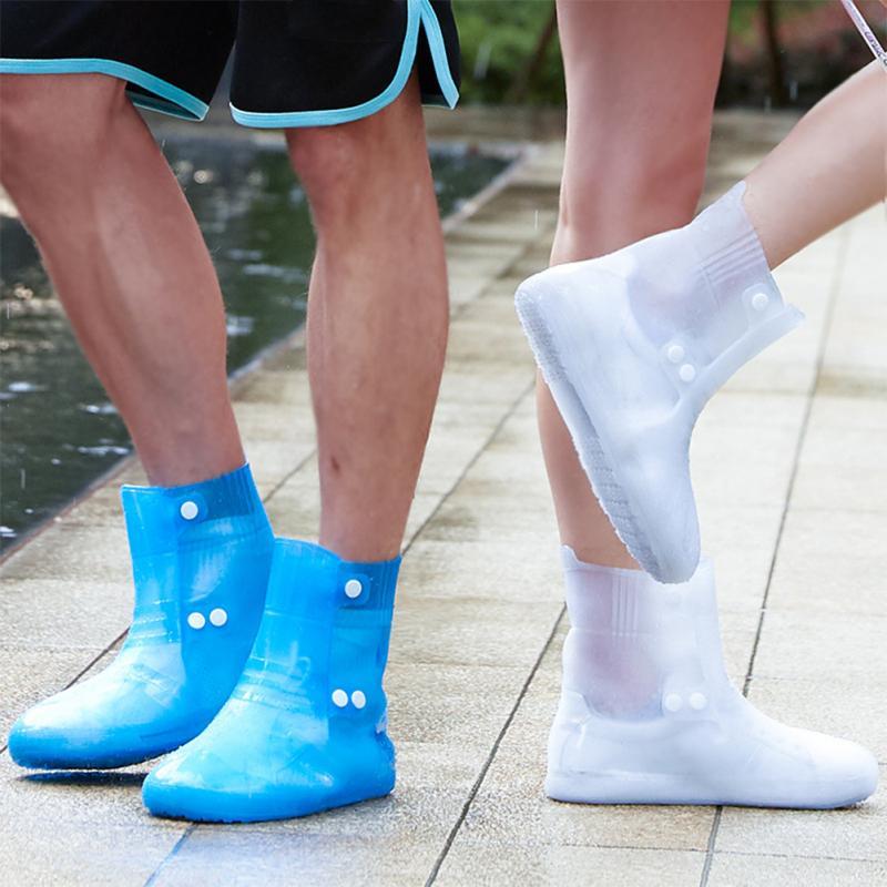 1 Paar Wasserdichte Schutz Schuhe Boot Abdeckung Unisex Schnalle Regen Schuh Abdeckungen High-top Anti-slip Verdicken Regen Schuhe Fällen