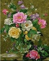 MaHuaf X633 Digital Oil Painting On Canvas Handwork Gift Pink Penoy Flower 40x50cm Framed Handwork Pictures