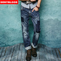 2016 Autum New Arrival Fashion Jeans Mens Stretched Denim Darked Washed Destroyed Broken Jeans Patchwork Casual Pants 158012