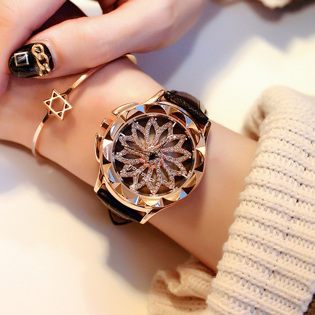 2017 Women Rhinestone Watches Lady Rotation Dress Watch brand Real Leather Band