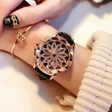 2017 Для женщин со стразами Часы леди вращения платье часы марки реальные кожаный ремешок большой циферблат браслет наручные часы кристалл часы