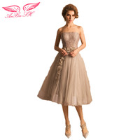 AnXin SH Grey Flowers Dinner Will Perspective Short Wedding Dress 1406 Bride Toast S