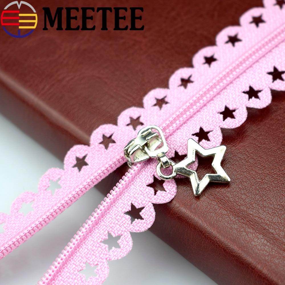 Meetee 20pcs 3 Close end Nylon Zipper Star Lace Tape 25cm Multi color Zipper Garment Diy Sewing Bag Purse Zippers A1 3 in Zippers from Home Garden