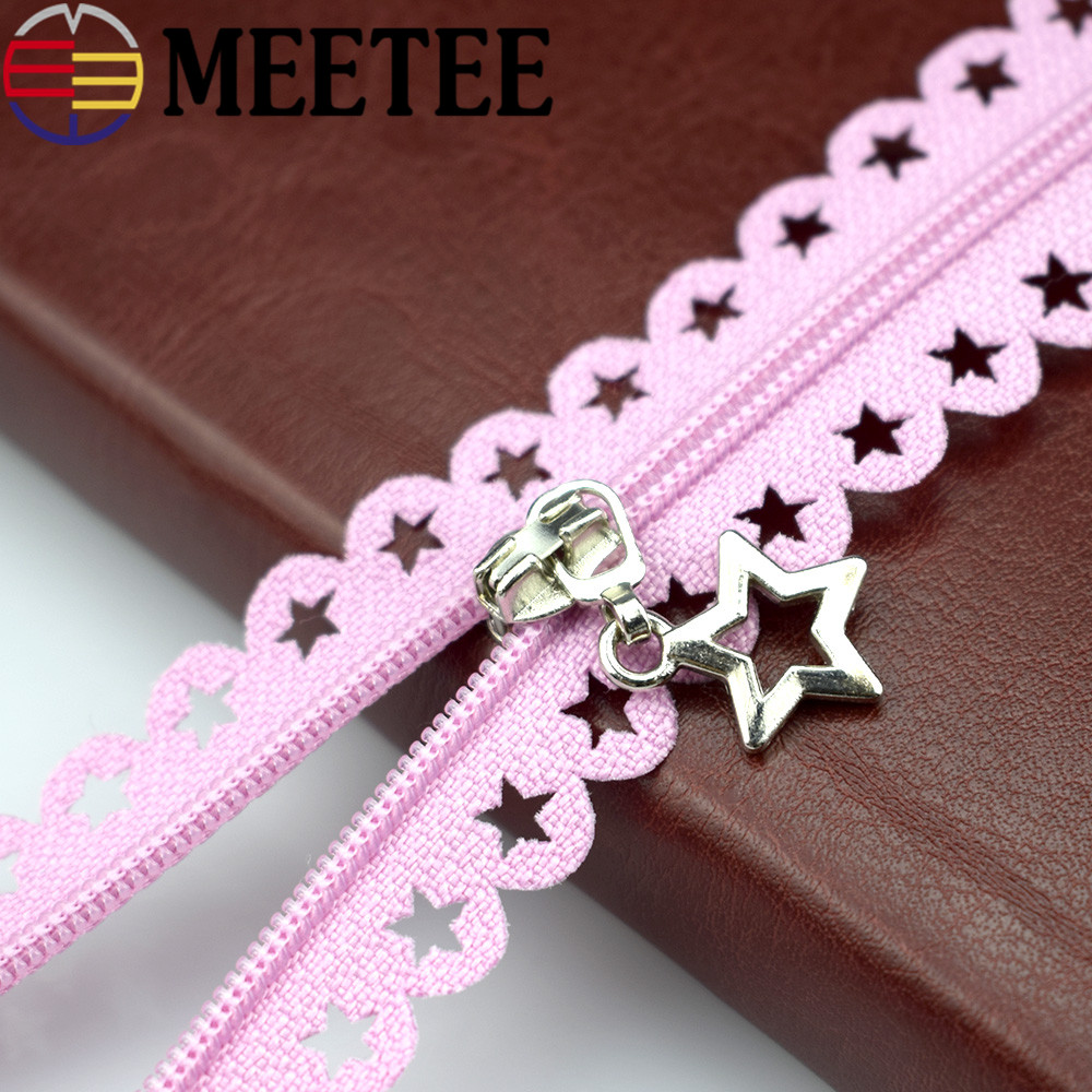 Meetee 20pcs 3# Close-end Nylon Zipper Star Lace Tape 25cm Multi-color Zipper Garment Diy Sewing Bag Purse Zippers A1-3