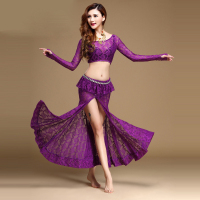2017 New Women Belly Dance Costumes Black Red Purple White Lace Tops Skirts Performance Costume Indiano