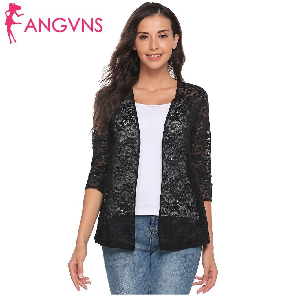 ANGVNS Brand Knit Bolero Shrug Lace Cardigan Women 3/4 Sleeve Open Stitch Mesh Sheer Floral Short Cardigan All-match Shawl Wrap
