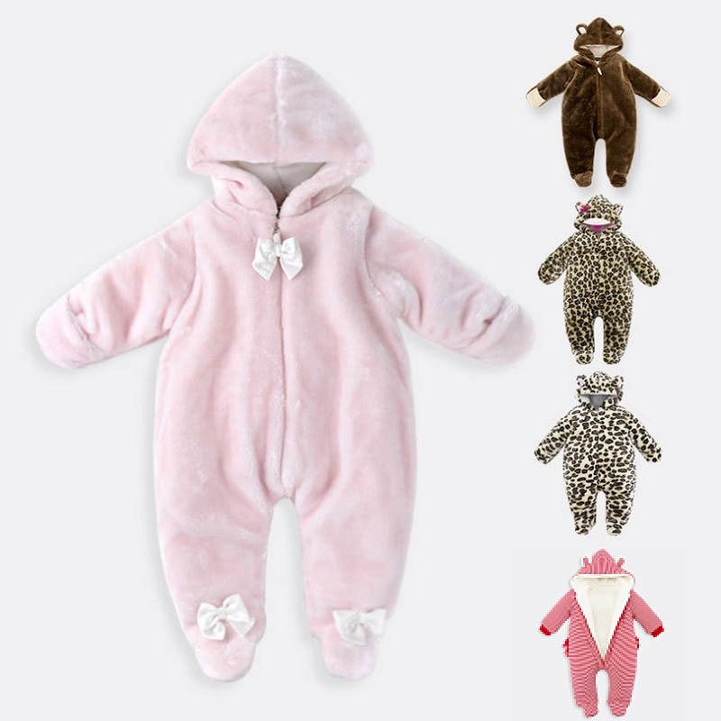 Newborn Infant Baby Boys Girls Rompers Autumn Winter Long Sleeve Thick Warm Coverall Hooded Toddle Jumpsuit Kids Clothes KF108 infant toddler baby kids boys girls pocket jumpsuit long sleeve rompers hats kids warm outfits set 0 24m