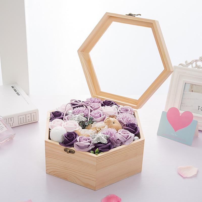 Boîte à surprises hexagonale en bois artificielle Rose savon fleur boîte cadeau saint valentin cadeau pour petite amie fête de mariage