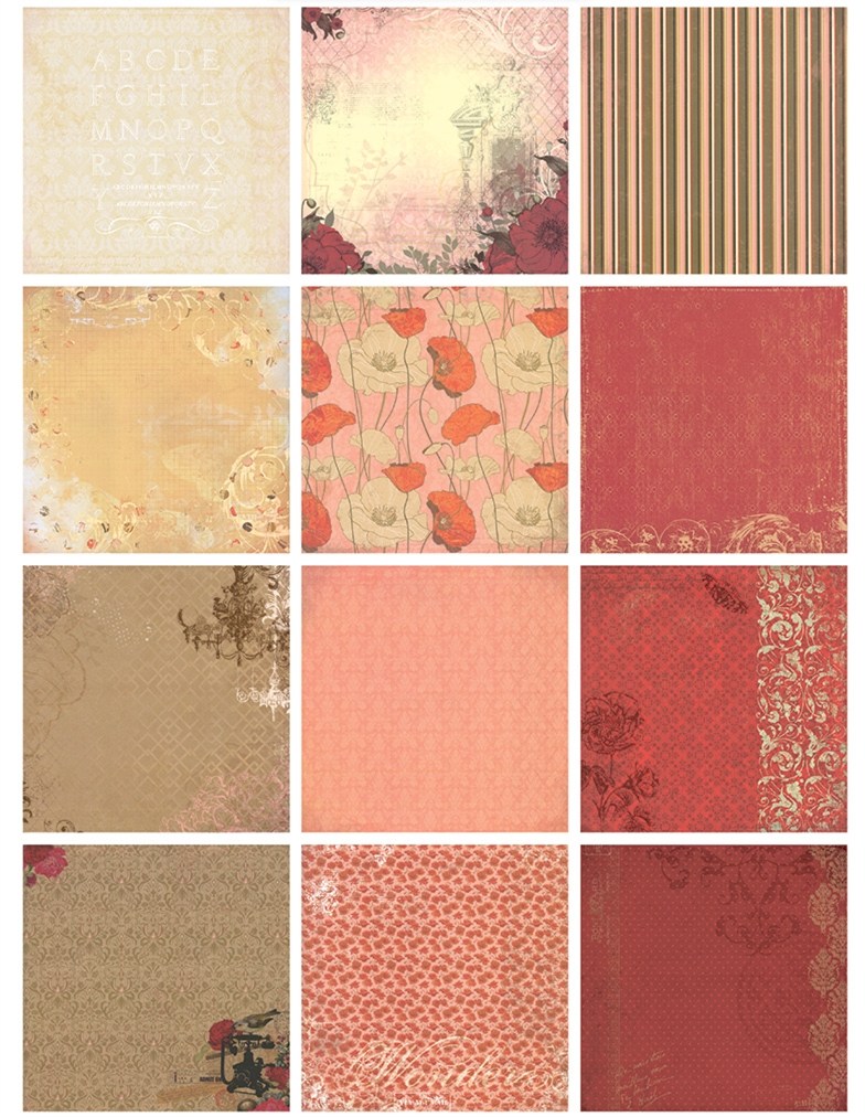 Scrapbook paper cheap - New 6 Vintage Red Theme Memories Background Paper Pads Patterns 26sheets Diy Craft Scrapbooking Paper Pack Flowers