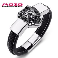 MOZO FASHION Men Jewelry Lion Wild Black Weave Leather Bracelet Stainless Steel Magnetic Bracelet Men S