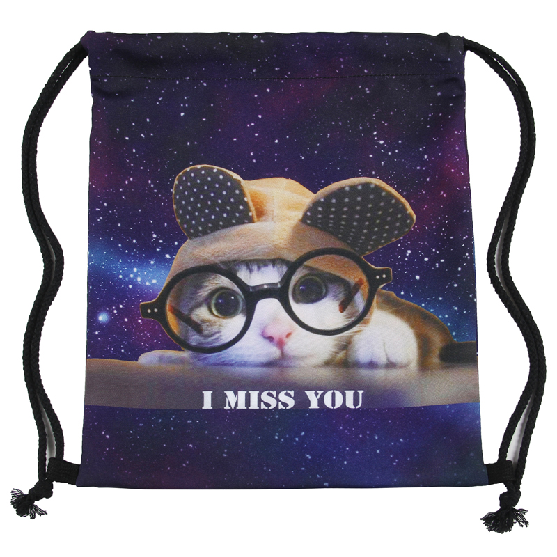 Luggage & Bags ... Drawstring Bags ... 32764544794 ... 2 ... Glasses cat 3D printing Women Classic forever  brand mochila escolar man  bags Travel mochilas backpack drawstring bag ...
