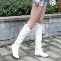 El envío libre de la rodilla botas altas mujeres de la manera pisos nieve otoño invierno calzado zapatos de cuña sexy caliente bota larga cosplay shoes