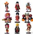 9 unids/set Nuevo 3.5-7 cm One Piece Luffy Nami Usopp Cero Tony Nico Chopper Sanji Franky Brook Acción PVC Figura Modelo de Juguete regalo