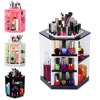 1PC Wooden 360 Degrees Rotatable Jewelry Makeup Cosmetics Jewelry Storage Box Case Organizer For Cosmetics The