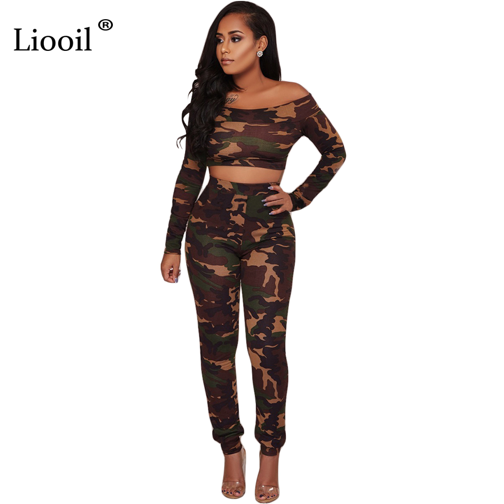 Liooil Camouflage Off Shoulder Jumpsuit Two Piece Set Long Sleeve High Waist Sexy Overalls For Women Skinny Jumpsuits Tracksuit