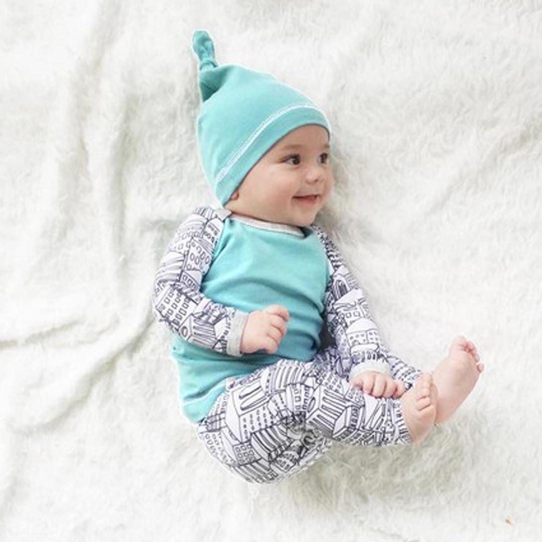 Fashion Baby Boys Girls Set 3PCS Infant Outfits Little Man Boys Long ...