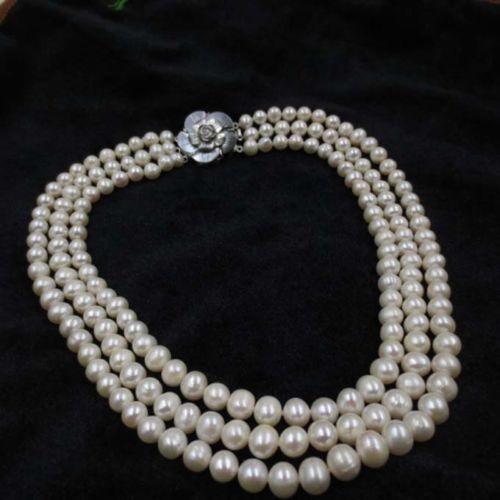 100% Venta de Imagen completo ENVÍO GRATIS 3 fila 8mm ronda collar de perlas de agua dulce de papa Blanca