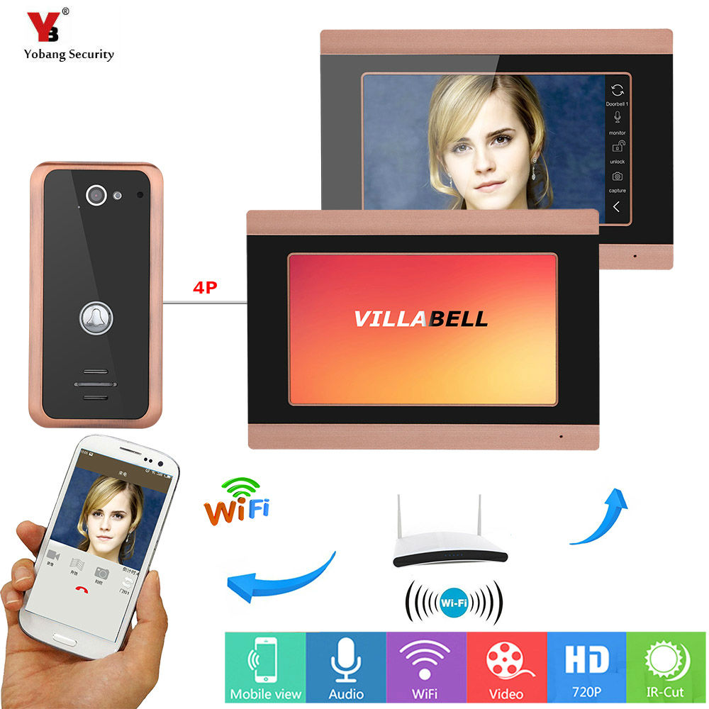 Yobang Security 7inch 2 Monitors Wired Wifi Video Door Phone Doorbell Intercom Support Remote APP intercom,unlocking,Recording
