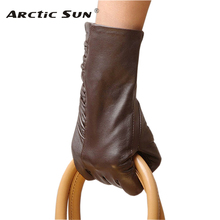 L124NQ multi-color women leather gloves slim fit stylish thin sheepskin wrist leisure Genuine
