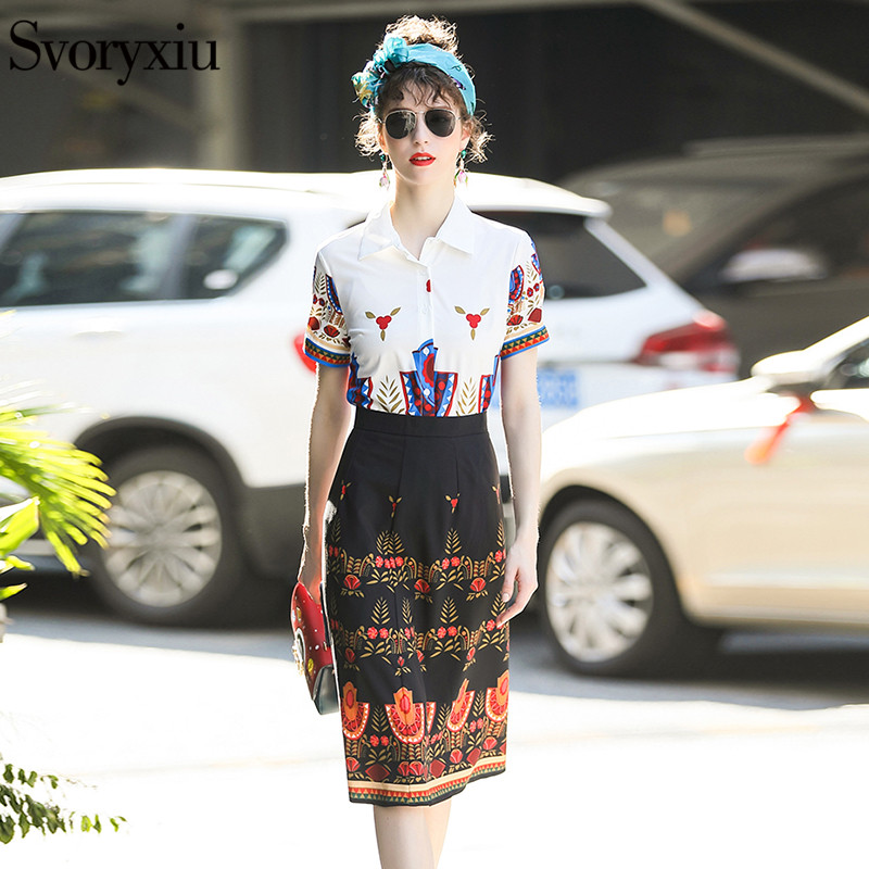 Svoryxiu Designer Summer Skirt Suit Womens Wear Short Sleeve Printed Blouse + Slim Half Skirt Vintage Two Piece Set