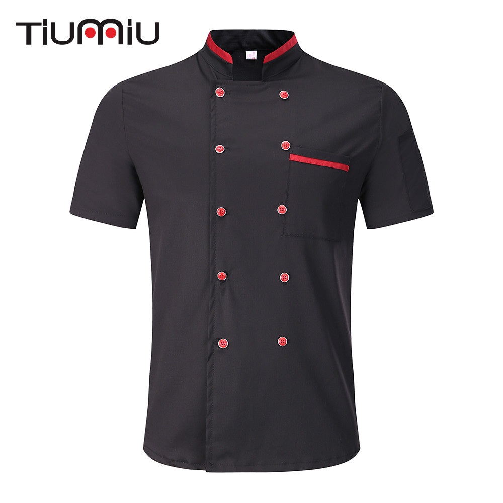 Unisex Wholesale Bakery Kitchen Cook Chef Jackets Short Sleeve Breathable Double Breasted Chef Uniform & Apron Black White M-3X