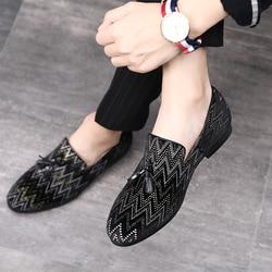 2018 Borla Loafer 37-48 Formal Shoes Calçados Masculinos Tamanho Vestido de Festa de Casamento Sapatos de Couro Ocasionais dos homens Escorregar No Dedo Apontado